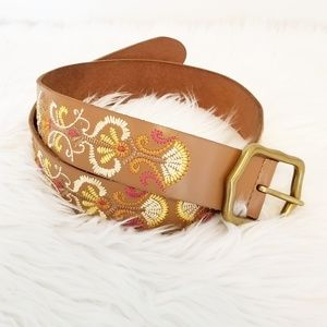 Lucky Brand Embroidered Leather Belt